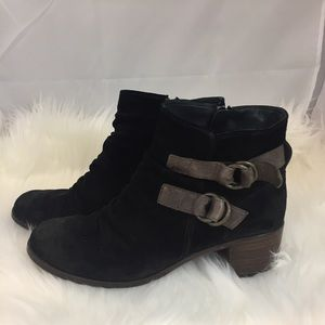 Paul Green Black Suede Slouchy Ankle Booties